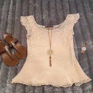 Bellddini Cream Crochet Cap Sleeve Top